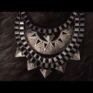 Two-toned gunmetal & silver statement necklace